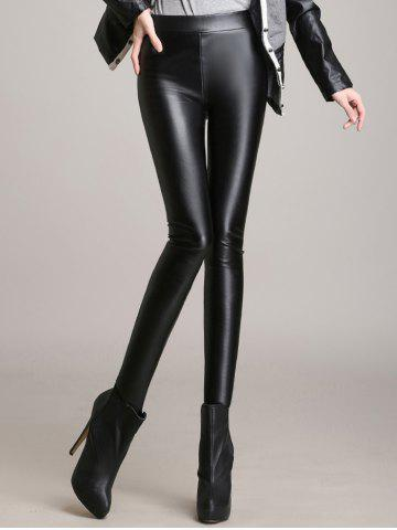 Skinny High Waisted Faux Leather Pants - Black - S
