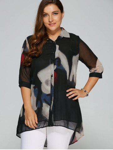 Cheap High-Low Printed Chiffon Shirt