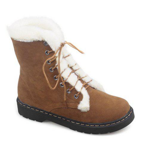 Buy Lace-Up Flat Heel Fuzzy Short Boots BROWN 37