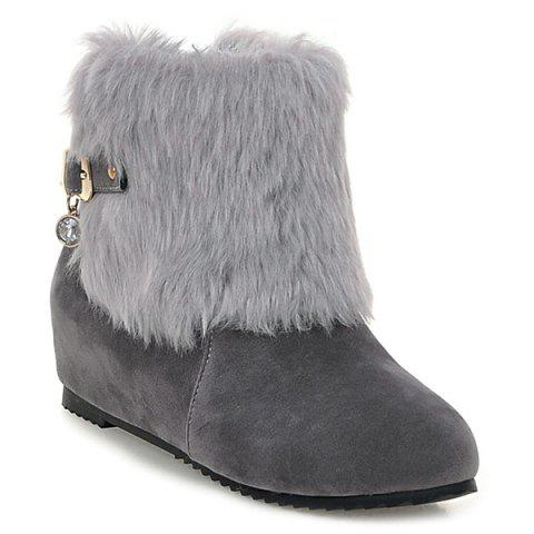 Store Buckle Faux Fur Hidden Wedge Boots GRAY 40