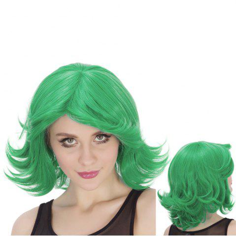 Fashion Medium Fluffy Side Parting Wavy Tail Upwards Synthetic Lolita Cosplay Wig CRYSTAL GREEN