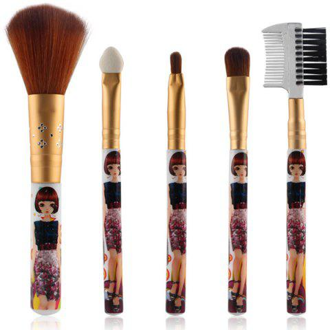 5 Pcs Nylon Makeup Brushes Set - Golden - Eu Plug