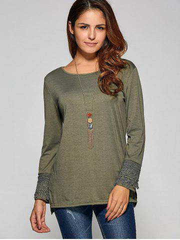 Side Slit Lace Panel T Shirt - ARMY GREEN XL