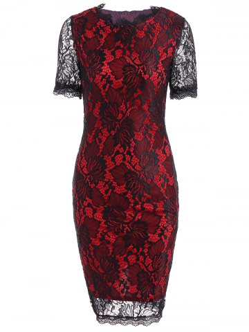 Color Block Openwork Lace Hook Pencil Dress - RED 2XL