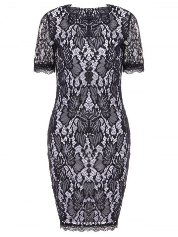 Trendy Lace Hook Patch Pencil Dress with Sleeves BLACK 2XL