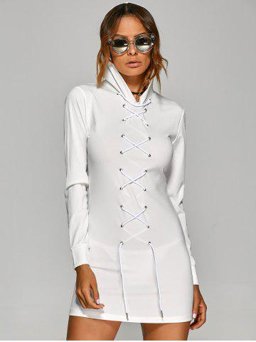 Online Hooded T Shirt Lace-Up Dress WHITE XL
