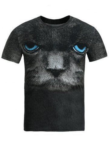 Round Neck 3D Blue Eye Cat T-Shirt - Black - M