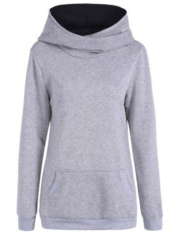 Affordable Pocket Casual Hoodie - XL GRAY Mobile