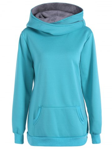 Fancy Pocket Casual Hoodie - S LAKE BLUE Mobile