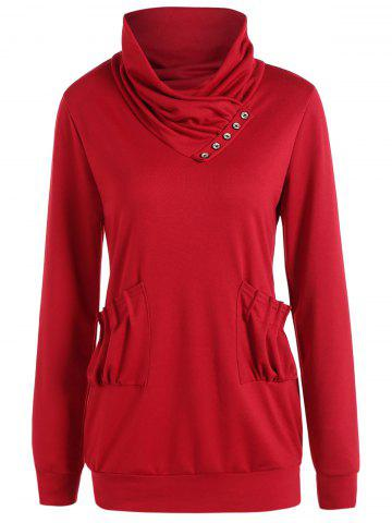 Unique High Neck Ruched Pockets Sweatshirt - RED XL Mobile