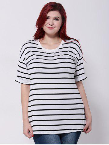 Discount Drop Shoulder Striped T-Shirt