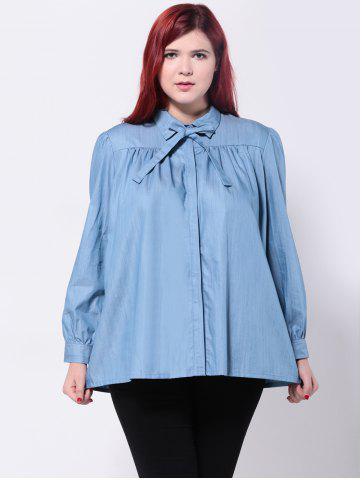 Affordable Loose-Fitting Bowtie Design Blouse