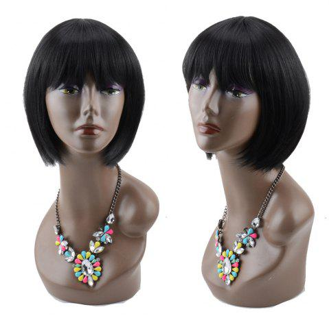 New Short Cute Straight Full Bang Synthetic Wig BLACK