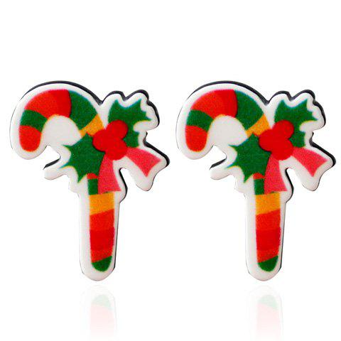 Unique Candy Cane Christmas Stud Earrings GREEN