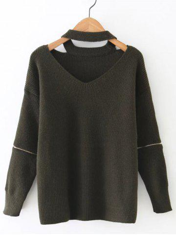 Discount Zipper Design Cut Out Sweater OLIVE GREEN ONE SIZE