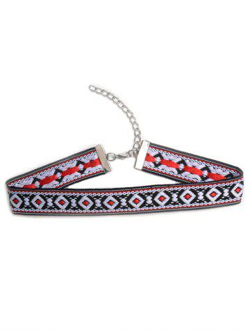 Online Square Embroidered Choker Necklace COLORMIX