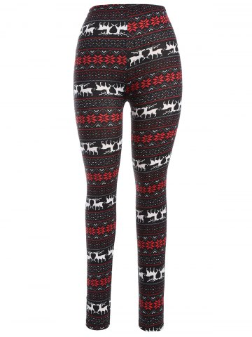 Shop Christmas Deer Snowflake Print Leggings