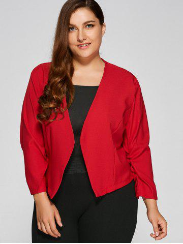 Chic Plus Size Open Front Crop Jacket