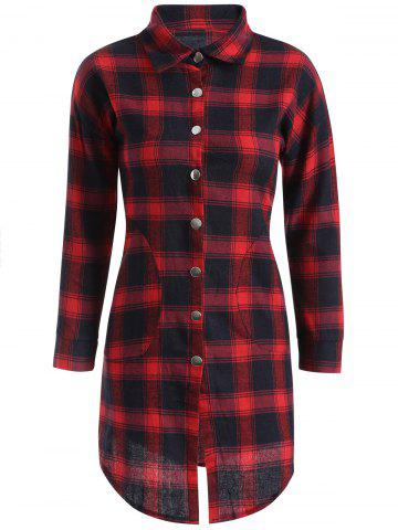 Fashion Button Up Plaid Long Flannel Shirt RED XL