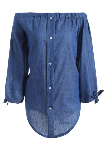 Store Off The Shoulder Long Sleeve Chambray Tunic Shirt Dress DEEP BLUE S
