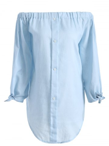 Discount Off The Shoulder Long Sleeve Chambray Tunic Shirt Dress LIGHT BLUE S