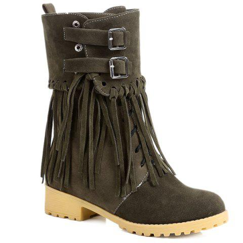 Fancy Suede Double Buckles Fringe Boots
