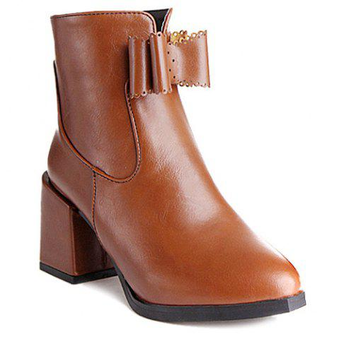 Fancy PU Leather Bow Chunky Heel Boots