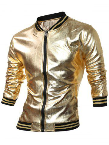 Chic Striped Hem Fleece Lining Zippered Metallic Jacket - XL GOLDEN Mobile