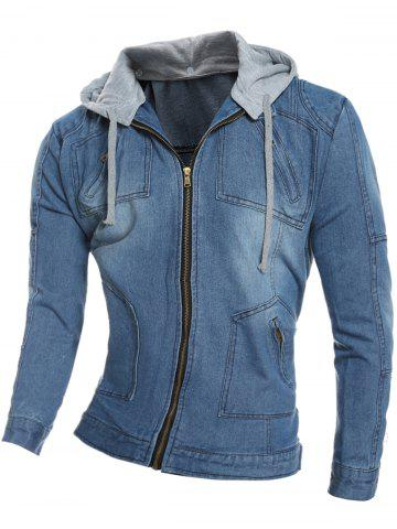 Zip Pocket Detachable Hood Denim Jacket - Blue - M