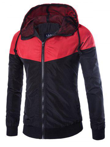 Cheap Contrast Color Zip Up Hooded Windbreaker Jacket RED XL
