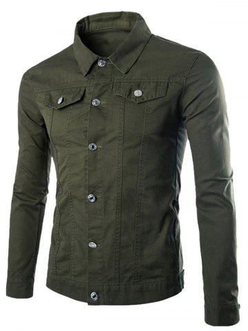 Button Up Pockets Front Plain Jacket - Army Green - L