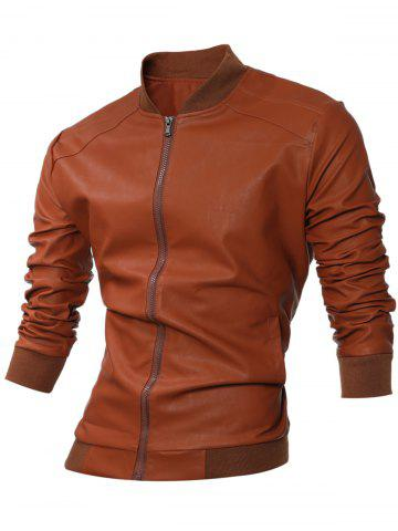 Affordable Stand Collar Rib-Hem Zip Up Faux Leather Jacket BROWN XL