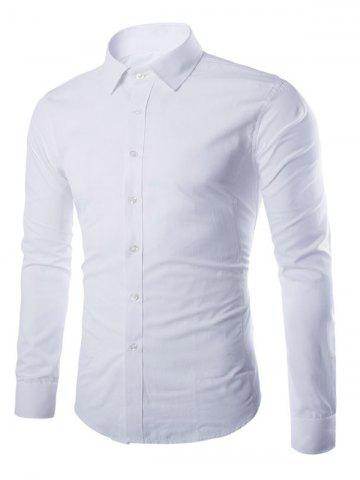 Discount Turn-down Collar Button Up Plain Shirt