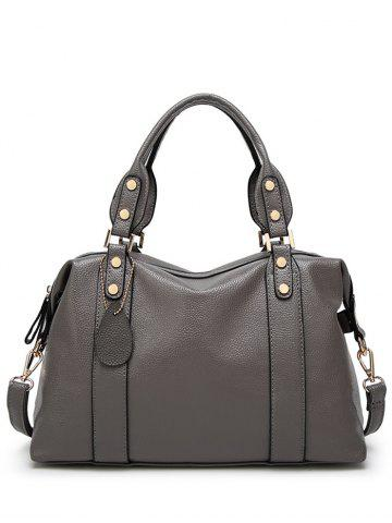Latest Metal Textured Leather Zipper Tote Bag DEEP GRAY