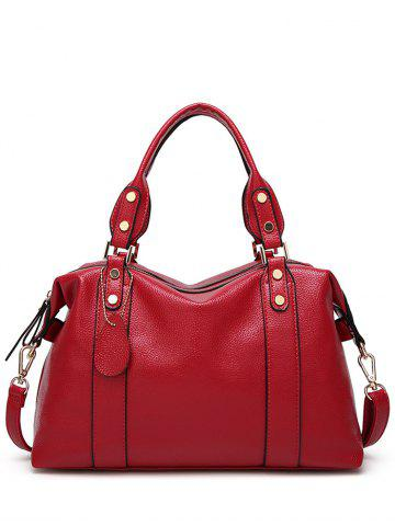 Buy Metal Textured Leather Zipper Tote Bag - Red