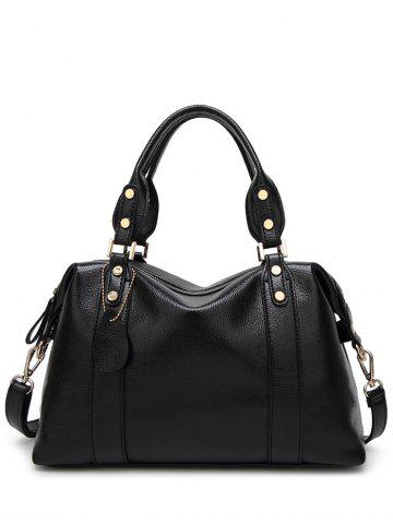 Buy Metal Textured Leather Zipper Tote Bag - Black