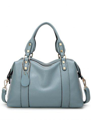 Buy Metal Textured Leather Zipper Tote Bag - Light Blue