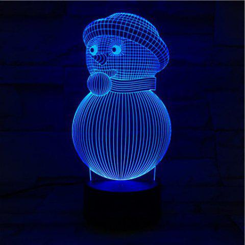 Fashion 3D Visual Colorful Christmas Atmosphere Snowman LED Night Light COLORFUL