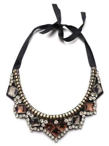 Trendy Faux Gemstone Rhinestone Geometric Necklace BROWN