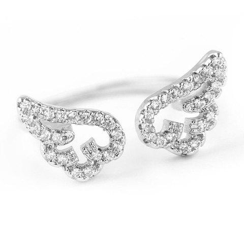 Outfit Cute Rhinestone Angel Wings Finger Cuff Ring SILVER ONE-SIZE