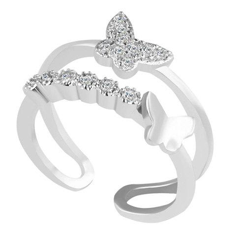 Online Rhinestone Butterfly Cuff Ring SILVER ONE-SIZE