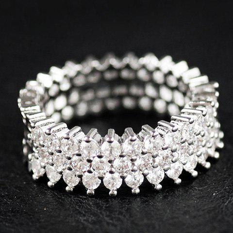 Rhinestoned Circle Engagement Ring - SILVER ONE-SIZE