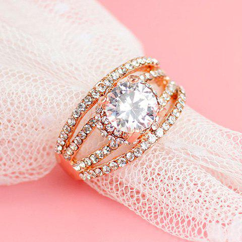 Fashion Rhinestone Hollow Out Engagement Ring - ONE-SIZE GOLDEN Mobile