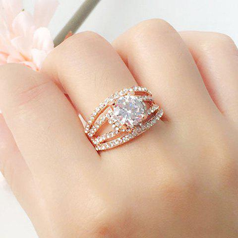 Unique Rhinestone Hollow Out Engagement Ring - ONE-SIZE GOLDEN Mobile