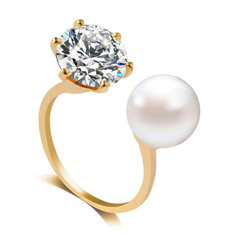 Unique Artificial Diamond Pearl Rhinestone Wedding Engagement Ring GOLDEN ONE-SIZE