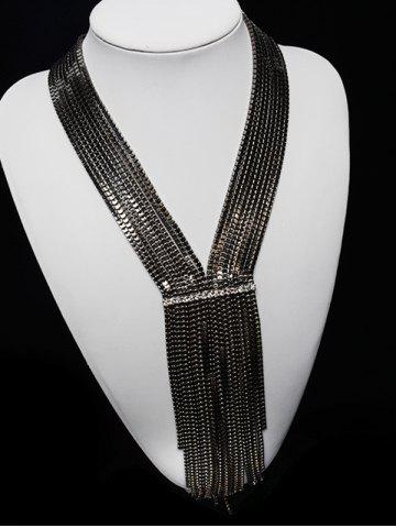 Store Tiered Box Chain Rhinestone V Shape Necklace