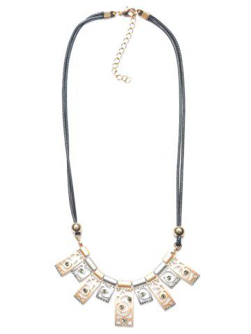 Layered PU Leather Polished Floral Geometric Necklace - CHAMPAGNE