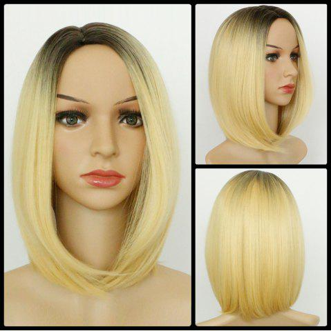 Discount Medium Straight Bob Ombre Side Parting Synthetic Wig COLORMIX