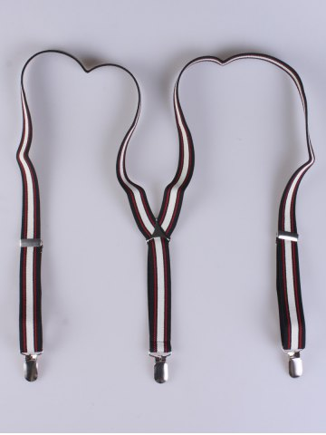 Affordable Stripe Adjustable Elastic Suspenders - BLACK  Mobile