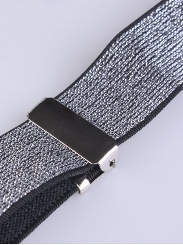 Outfit Silver Thread Adjustable Elastic Suspenders - SILVER  Mobile